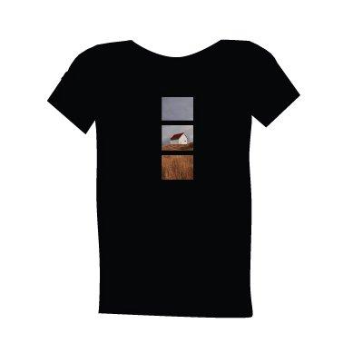 blue dirt girl's men's black t shirt with Saturna image