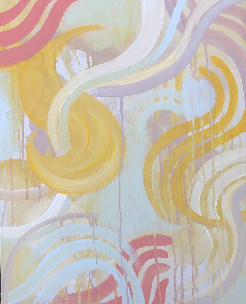 Blue Dirt Girl Reaction Painting new music 2021 Josh Klassen artist