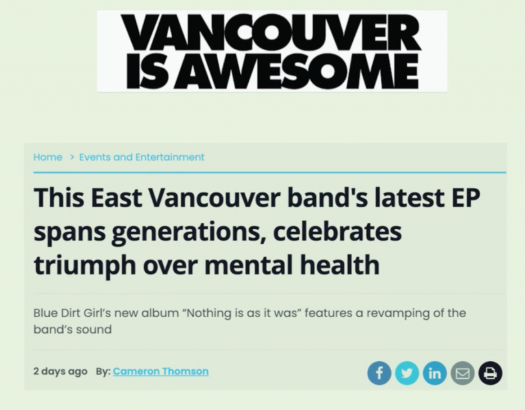 """Vancouver is Awesome review of """"Nothing is as it was"""" best new music 2021 Blue Dirt Girl"""
